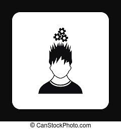 tête, sien, simple, sur, style, engrenages, icône, homme