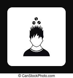 tête, sien, simple, sur, style, tablettes, icône, homme