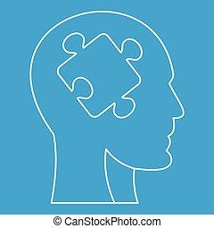 tête, silhouette, icône, laissez perplexe morceau, homme