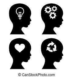 tête, silhouette, icônes, set., idée, vecteur