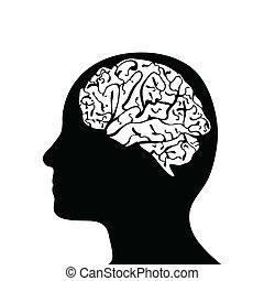 tête, silhouetted, cerveau