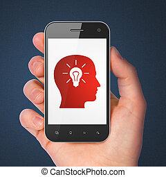 tête, smartphone, ampoule, education, concept:
