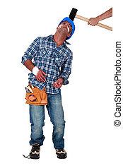 tête, succès, être, sur, marteau, constructeur