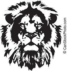 tête, tatouage, lion, noir