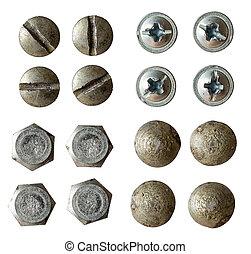 tête, vis, lumière, isolé, collection, rivet, divers, blanc, boulon