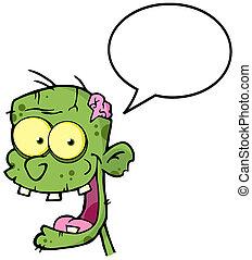 tête, zombi, bulle discours