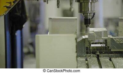 têtes, moudre, industrie, métal, machine, cnc