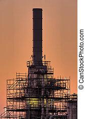 tôt, cheminée, industriel, matin