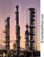 tôt, industriel, raffinerie, matin