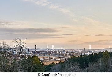 tôt, paysage, puissance, vallée, printemps, industriel, station