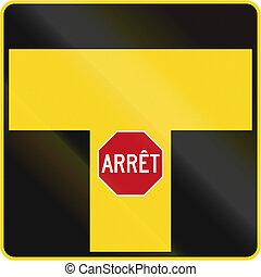 t, canada, intersection, arrêt