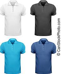t-, couleur, hommes, illustration, shirts., vecteur, noir, conception, blanc, template.