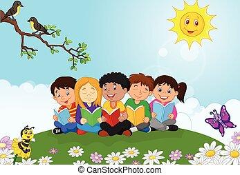 t, heureux, enfants, dessin animé, séance