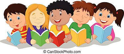 t, heureux, séance, enfants, dessin animé