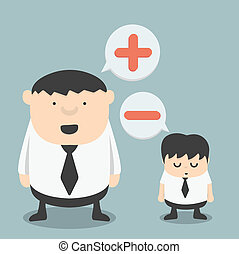 t, homme affaires, obèse, négatif, positif