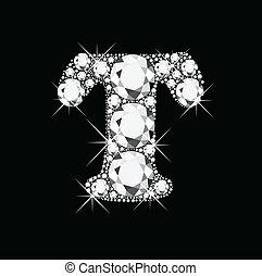 t, lettre, diamants