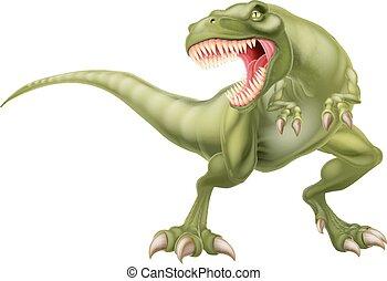 t rex, dinosaure, illustration