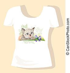 t-shirt, chaton, conception, enfants, jacinthe des bois