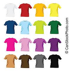 t-shirt, gabarits, conception, coloré