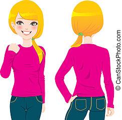 t-shirt, girl, blonds