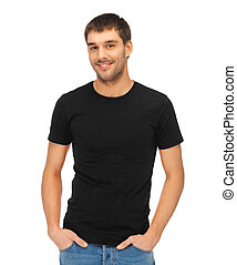 t-shirt, homme, noir, vide