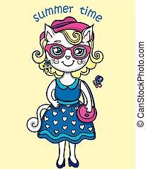 t-shirt, mignon, lady-cat, graphiques, été