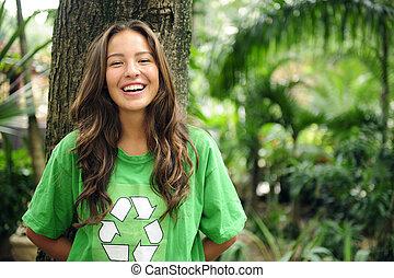 t-shirt, recycler, porter, forêt, ambiant, activiste
