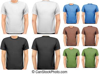 t-shirts., couleur, hommes, conception, vector., noir, blanc, template.