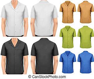t-shirts., couleur, hommes, vecteur, conception, noir, blanc, template.