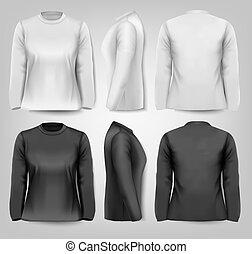 t-shirts, space., texte, sleeved, femme, vector., long, échantillon