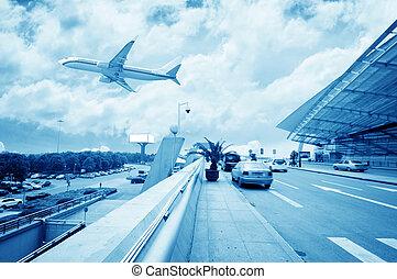 t3, bâtiment, china., scène, beijing, aéroport