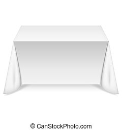 table, blanc, nappe, rectangulaire
