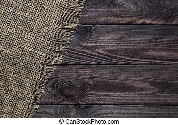 table, bois, burlap, fond, texture