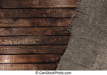 table bois, burlap, fond, texture
