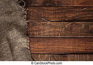 table bois, burlap, texture