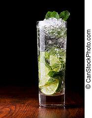 table bois, mojito, cocktail