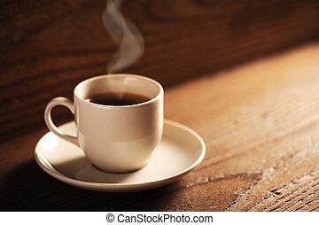 table bois, tasse à café