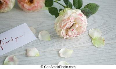 table, bouquet, roses, beau, orange