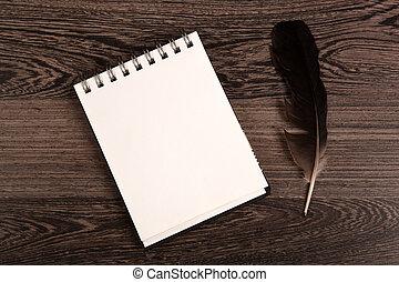 table, cahier, bois, stylo, écriture