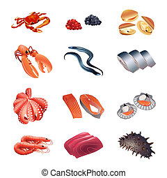 table, calorie, fruits mer, fish