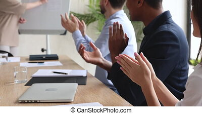 table, conférence, gens, applaudissement, divers, mains, business, audience, asseoir