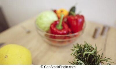 table cuisine, fruits, légumes, bol, moderne