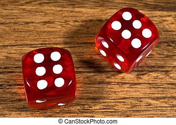 table, dés, rouges, deux