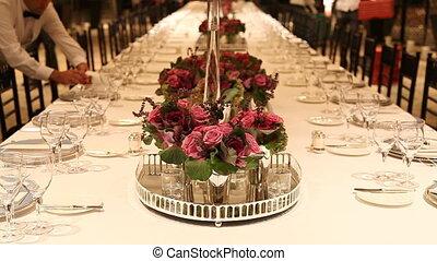 table dîner, 3, élégant, monture