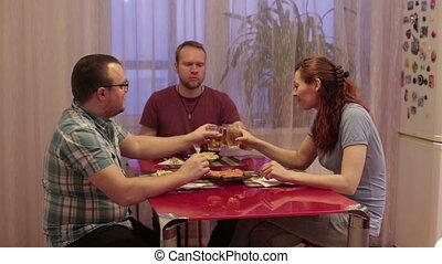table, dîner, amis, trois, séance
