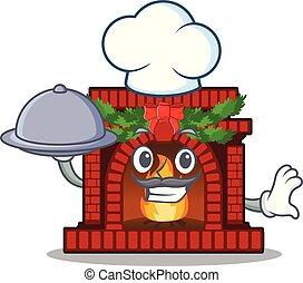 table, dessin animé, chef cuistot, cheminée, nourriture noël