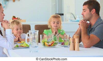 table, famille, prier