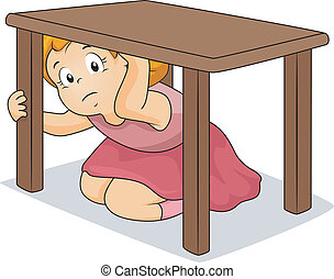 table, girl, dissimulation, sous