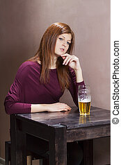 table, girl, solitaire, séance