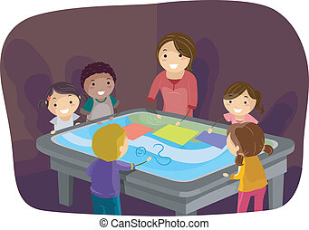 table, gosses, surface, interactif